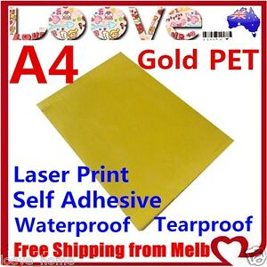 10x A4 Glossy Gold Pet Self Adhesive Vinyl Sticker Paper