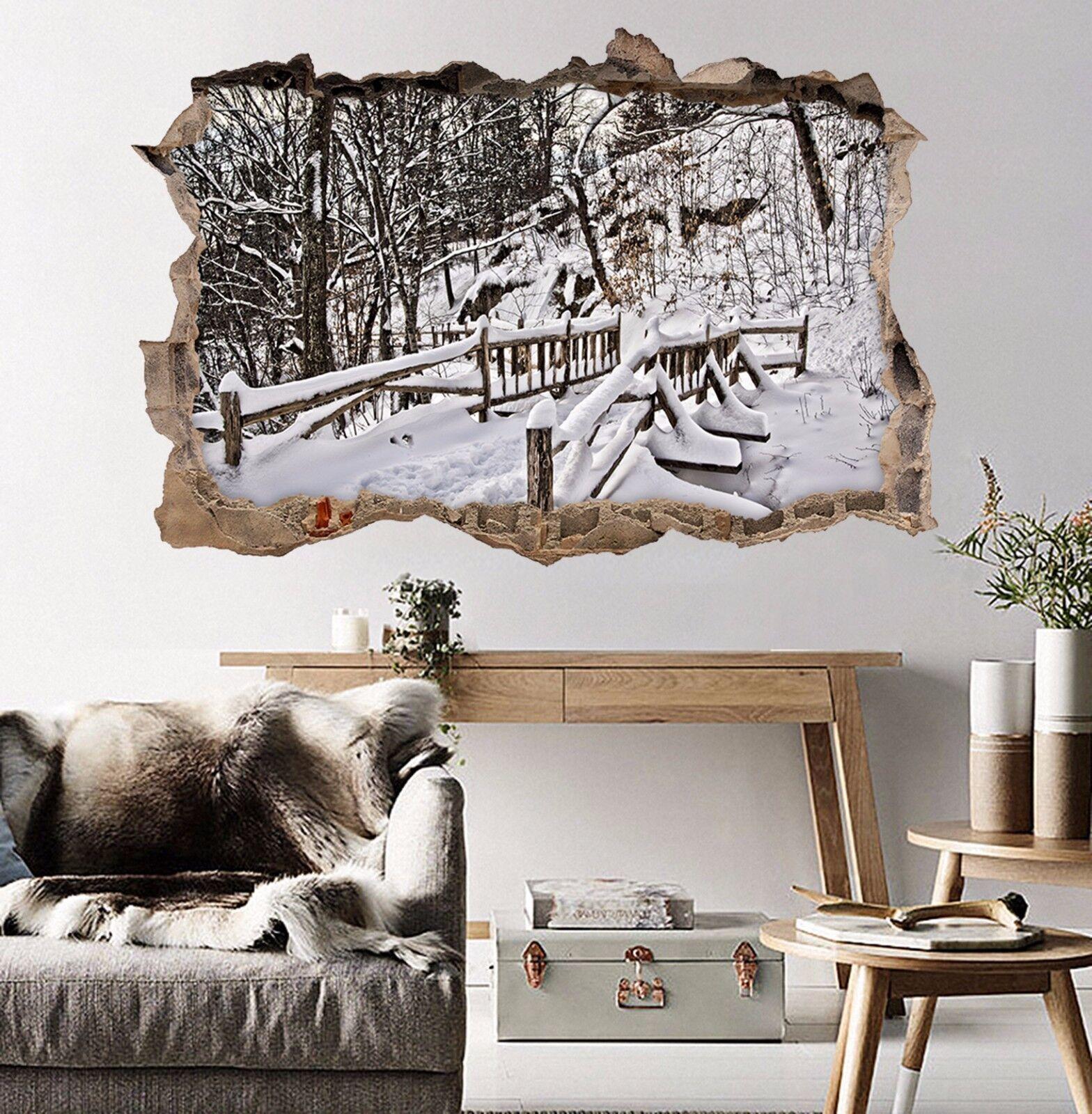 3D Foresta Neve 312 Parete Murales Adesivi Decal Sfondamento AJ WALLPAPER IT