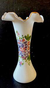 VNTG-10-Fenton-Unmarked-Hand-Painted-White-Milk-Glass-Vase-Pink-Green-Purple