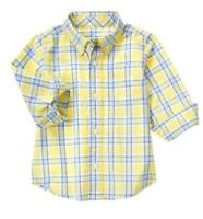 Gymboree Marina Party Plaid Button Down Long Sleeve Shirt Yellow S 5-6