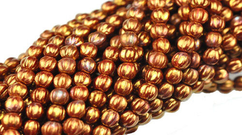 Copper Luster Glass Round Melon Beads 5MM 50 Red
