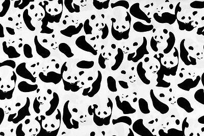 + [FQ] Cute Panda & Bee Brown Black Blue Pink White Yellow 100% Cotton Fabric +