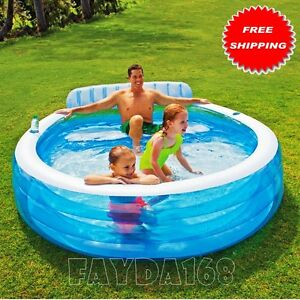 Large inflatable swimming pool center lounge family kids for Garden inflatable swimming pool