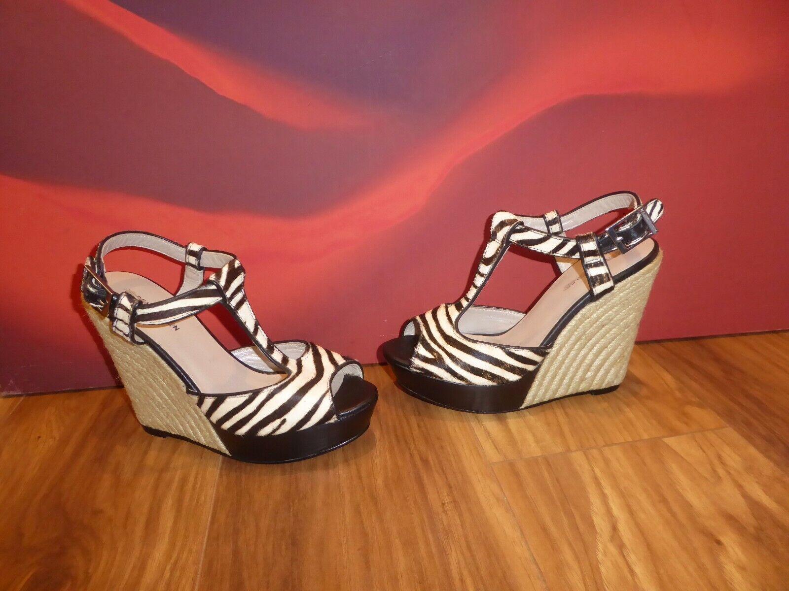 A4 KAREN MILLEN BLACK WHITE PONY REAL FUR Platform wedge Sandals  EU 39 UK 6