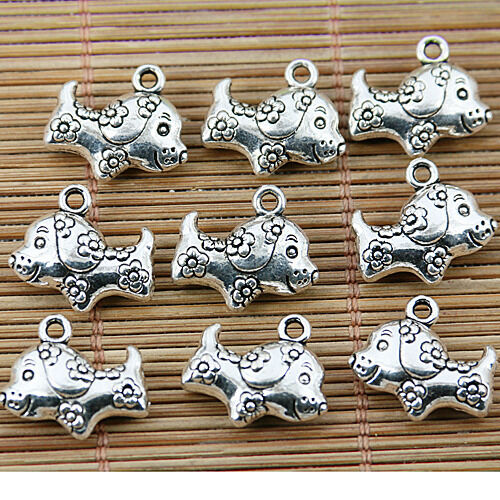 8PCS Tibetan silver tone flowers little dog design charms EF1564