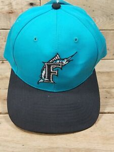Vintage Florida Marlins Snapback Hat Twins Enterprise Green Underbill Aqua NWT
