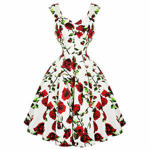 Hearts-amp-Roses-London-Cream-and-Red-Floral-Vintage-Retro-1950s-Flared-Tea-Dress