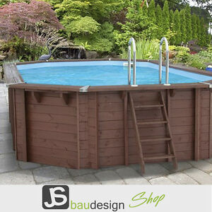 holzpool bali oval 640x400 cm gartenpool outdoorpool pool holz kiefer wetterfest ebay. Black Bedroom Furniture Sets. Home Design Ideas