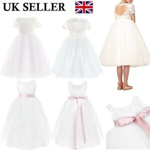 UK Kids Flower Girl Dress Princess Wedding Bridesmaid Pageant Party Formal Dress