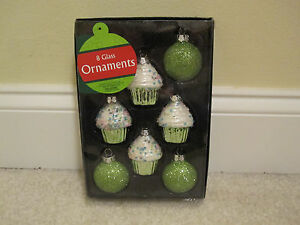 Cupcake ornament green glass set of 8 new in package christmas spring birthday