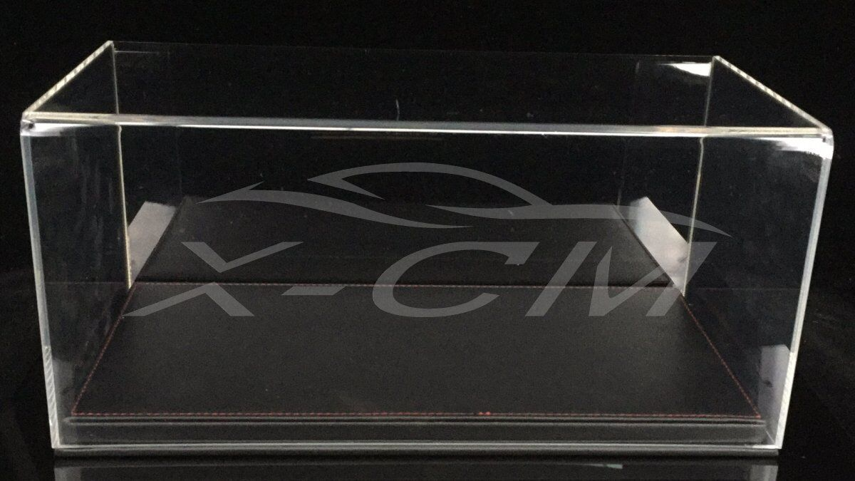 Modelo de auto pantalla transparente Carcasa De De De Cuero mostrar como base 1 18 (Negro) 584cea