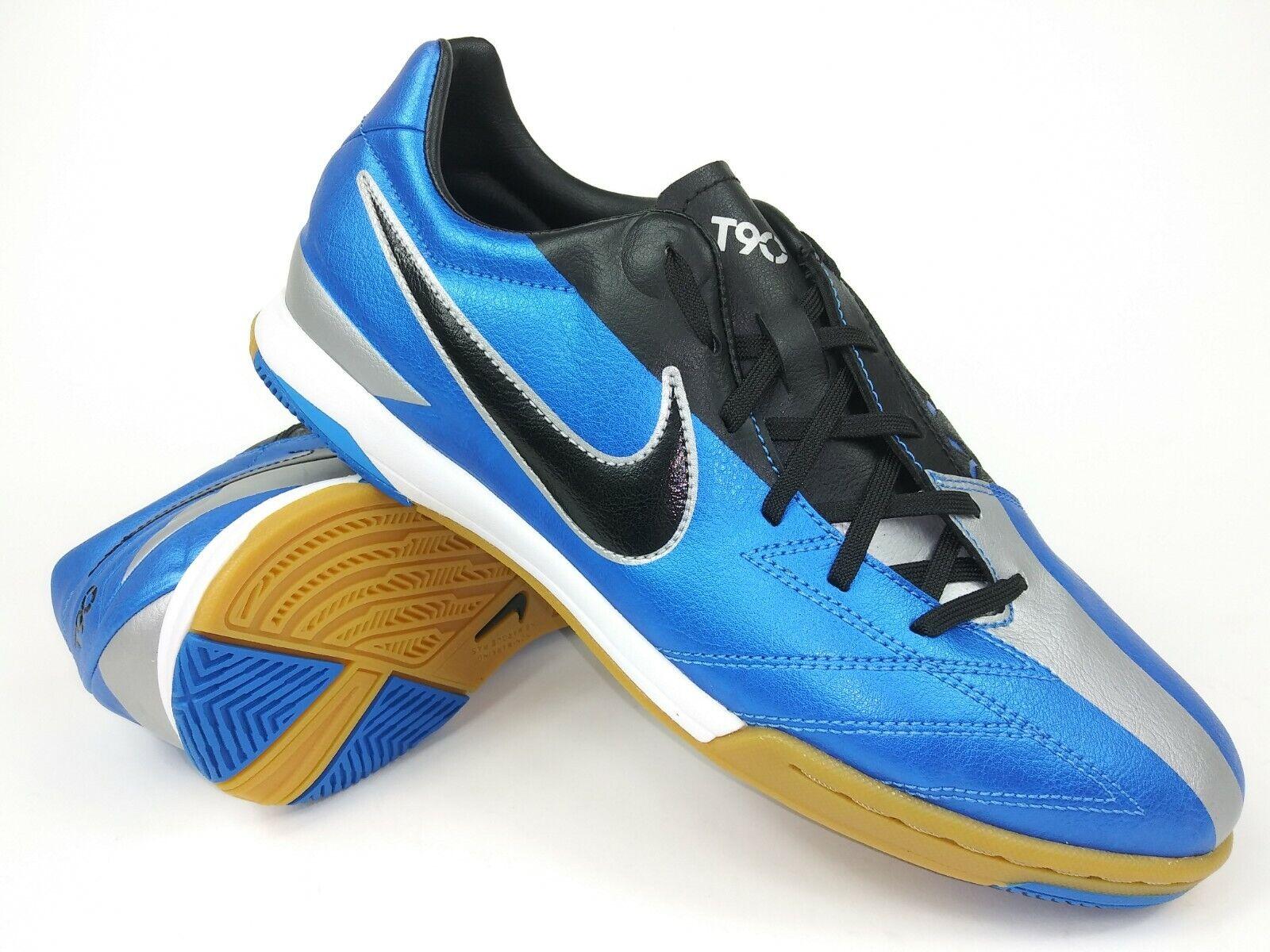 Nike Hombre Raro T90 Shoot IV IC 472558-400 Azul gris fútbol indoor zapatos talla 9.5