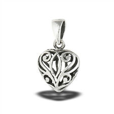 Promise Heart Pendant Sterling Silver Intricate Cutout Filigree Detailed Charm