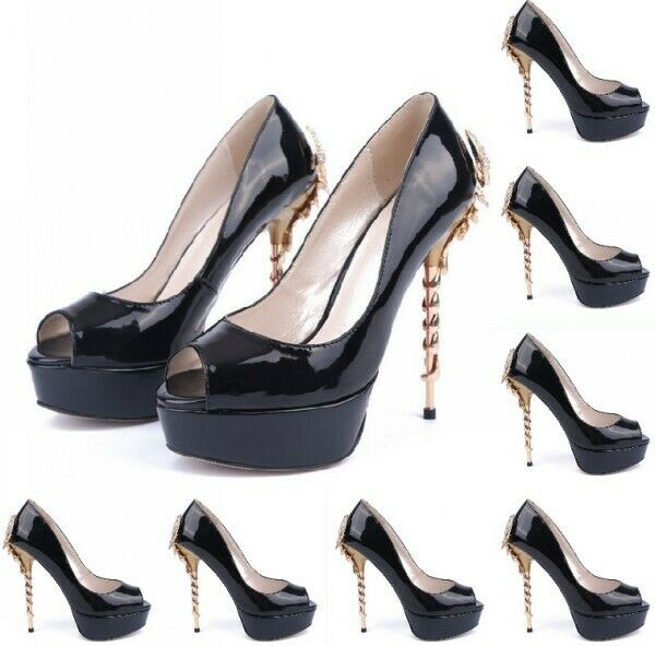 Womens Peep Toe High Stiletto Heel Pump shoes Metal Rhinestones Decor Platform