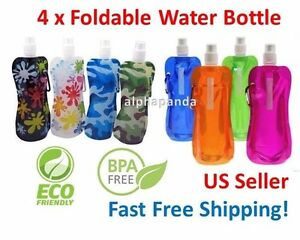 16oz Collapsible Folding Reusable Water Bottle Ice Pack Hiking Camping BPA FREE