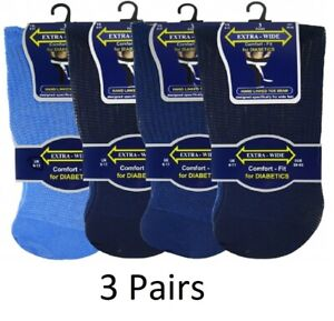 Mens Big Foot Extra Wide Comfort Fit Non Elastic Diabetic Socks Wide Ankle 11-14