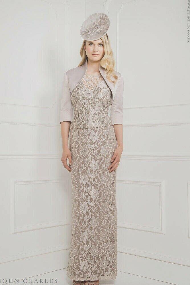 John Charles 3 Piece 25879 Silver Mother of the Bride Midi Wedding Dress 10 38