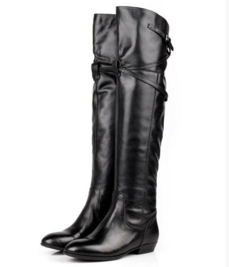 Women's Leather Occident Knee High Boots Knight Winter shoes Vogue Low Heel