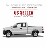Chrome Window Vent Visors Tape On 4pc For Ford F-150 Extended Cab 2004-08