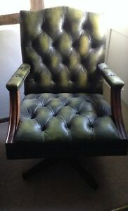 style green leather swivel office desk chair captains chair ebay