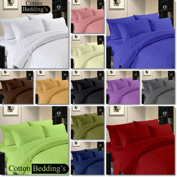 LIMITED OFFER FREE SHIPPING 1000 TC 3pc Duvet Set +1pc Fitted Sheet Solid colors