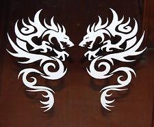 "TRIBAL DRAGON VINYL DECALS STICKERS 8"" WHITE  NEW SET OF 2"
