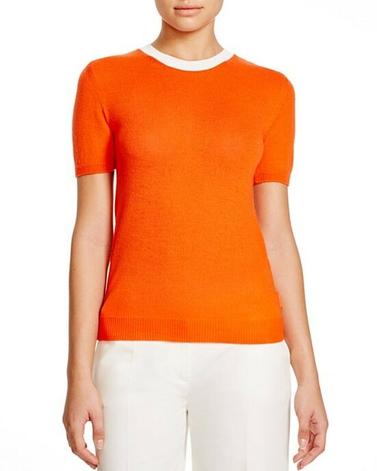 NEW  Moncler Women Authentic orange Wool Sweater Top, Size XS. Made in