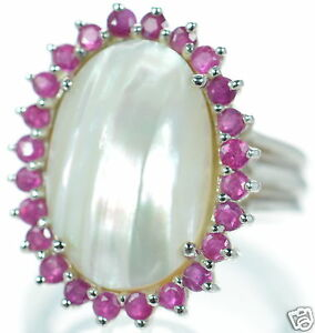 Solid-925-Sterling-Silver-Genuine-Ruby-Oval-Mabe-Pearl-Ring-Size-7-039