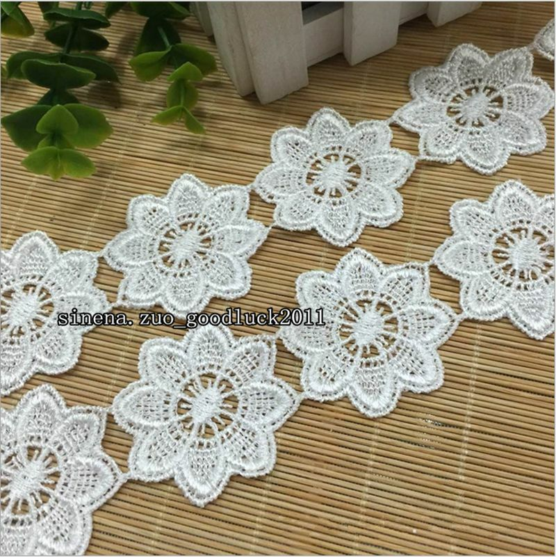 3Yards  White Floral Polyester Lace Applique Sewing Trim DIY Crafts Trimming