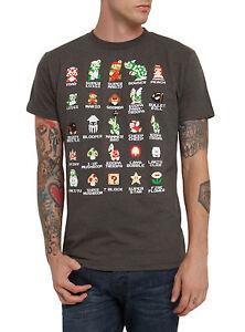 Nintendo-Men-039-s-Mario-Pixel-Cast-Charcoal-Heather-T-Shirt-New