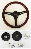 60-69 Chevy C10 Truck Steering Wheel Wood Grip With Black Spokes 13 3/4 Bowtie