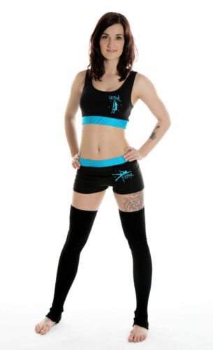 Wink Pole Dancing Contrast Band Crop Top or Shorts pink or turquoise