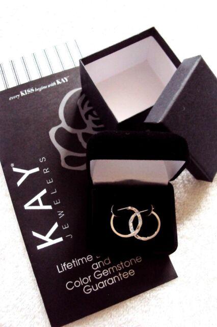 Kay Jewelers Diamond Infinity Hoop Earrings in Sterling Silver NEW Guarantee