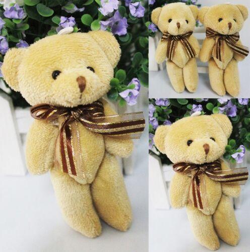 Cute Soft Plush Stuffed Mini Brown Ribbon Teddy Bear Toys Doll for Bouquet 2017
