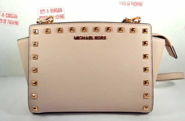 8545df5cd96a86 Michael Kors Selma Stud Medium Soft Pink Saffiano Leather Messenger Bag
