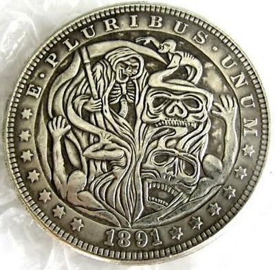 US Hobo 1891 Morgan Dollar Skull Zombie Skeleton Casted Coin