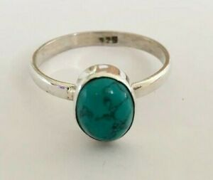 Sterling-Silver-Turquoise-Ring-Oval-Gemstone-Stack-Stacking-Solitaire-Size-6-7-9