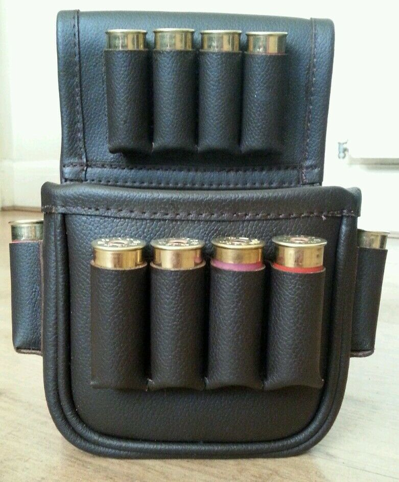 Brown leather Cartridge pouch holds a box of 25 & 12 cartridges on the outside.