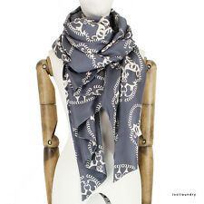 Thomas Wylde Grey Ivory Skull Patterned Luxurious Pure Silk Scarf Shawl Wrap