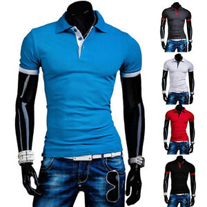Stylish-Men-039-s-Short-Sleeve-Slim-Fit-Polo-Shirt-T-Shirts-Casual-Shirts-Tee-Tops