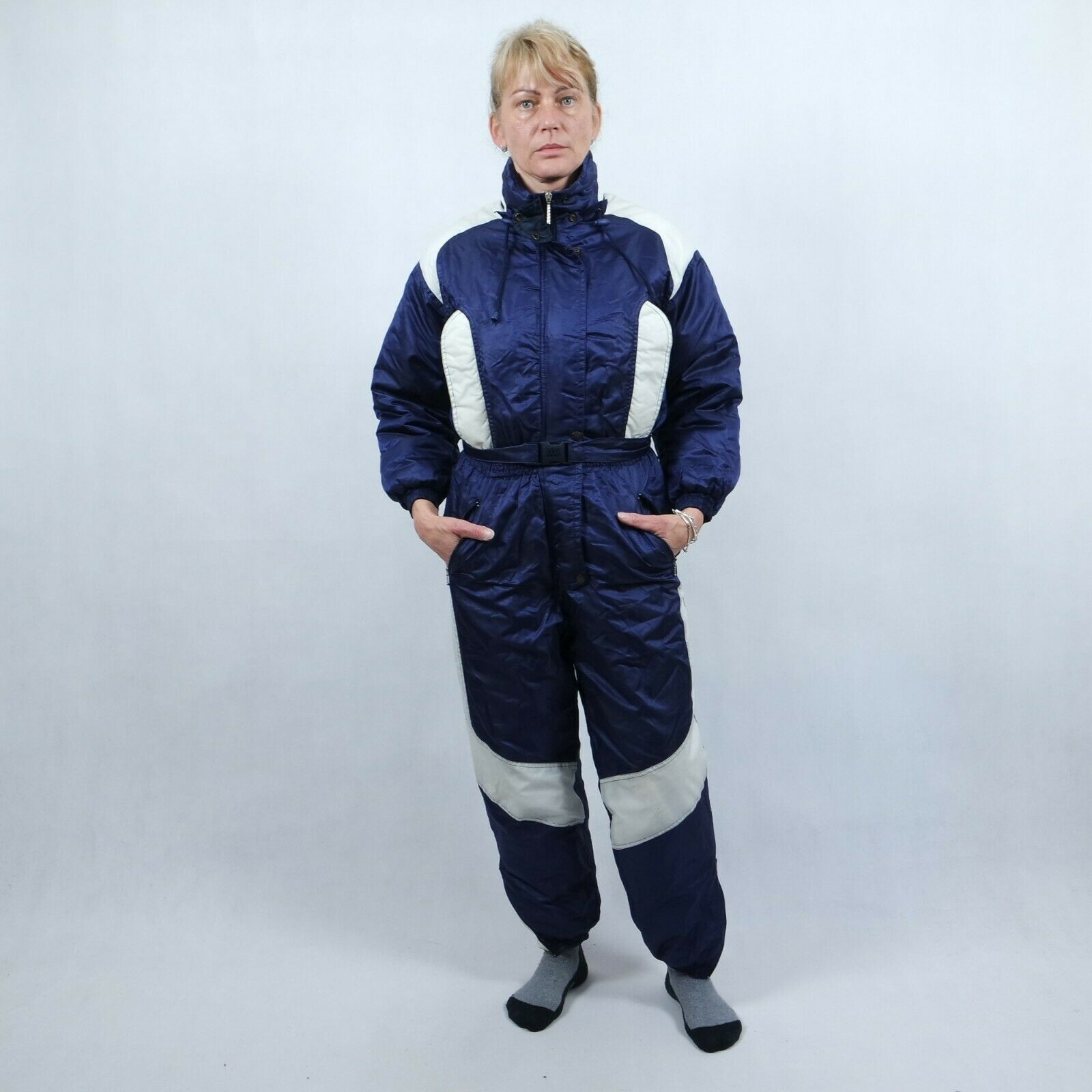 Vintage Womens  Dark bluee Shiny Festival One Piece Ski Suit Snowsuit SIZE Small  brand on sale clearance