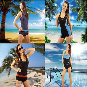 New-Ladies-Black-Sexy-Girl-Swimwear-Swimming-Costume-Boyleg-Swimsuit-Size-8-22