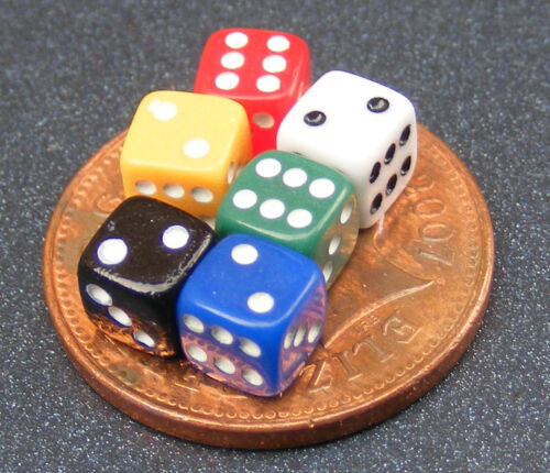 1:12 Scale Set Of 6 Coloured Dice Tumdee Dolls House Nursery Toy Game Accessory