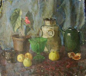 Russian-Ukrainian-Soviet-Oil-Painting-realism-Still-Life-teapot-vase-early-1950