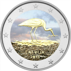 2-Euro-Gedenkmuenze-Lettland-2015-coloriert-Farbe-Farbmuenze-Storch