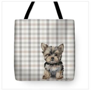 Yorkie-on-Check-Pattern-Art-Tote-in-Several-Sizes-FREE-Personalization