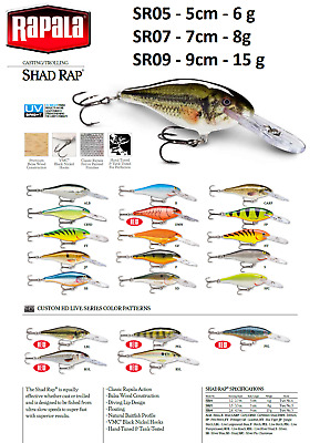 DIFFERENT COLORS 6g Rapala SHAD RAP SR05 5cm Brand new