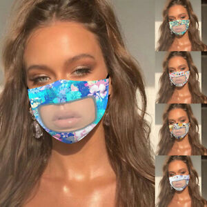 Cotton Washable Face Mask Cover Clear Window Visible Expression For The Deaf Ebay
