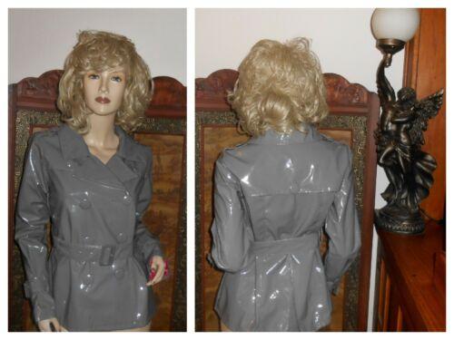 S/M Shiny Gray PVC Vinyl Raincoat Rain Jacket Slic