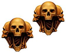 Scary Skull 2x Stickers Heads Laptop Book Fridge Guitar Motorcycle Door PC #38